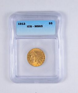 MS65 1913 $5.00 INDIAN HEAD GOLD HALF EAGLE   MXXX   GRADED ICG  2113
