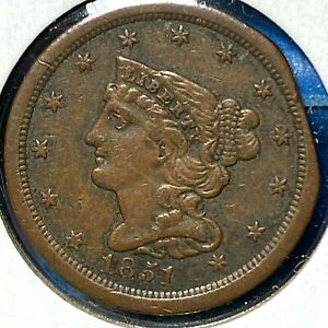 1851 1/2C BRAIDED HAIR HALF CENT WITH CLIPPED PLANCHET ERROR  64419
