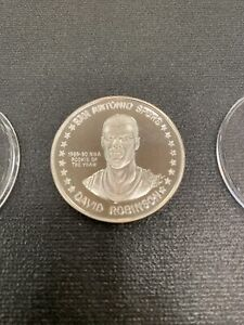 1989 SPURS ROOKIE OF THE YEAR DAVID ROBINSON 1 OZ .999 FINE SILVER LIMITED MEDAL