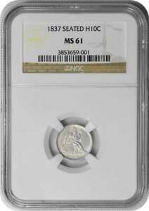 1837 LIBERTY SEATED SILVER HALF DIME NO STARS LARGE DATE MS61 NGC
