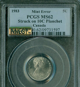 Click now to see the BUY IT NOW Price! 1983 CANADA 5 CENTS STRUCK ON 10 CENTS PLANCHET PCGS MS 62 ERROR  FINEST GRADE