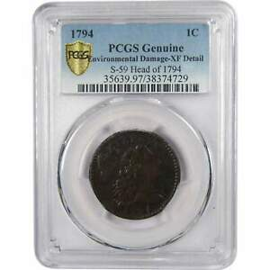 1794 S 59 HEAD OF 1794 LIBERTY CAP LARGE CENT XF DETAILS PCGS COPPER PENNY 1C