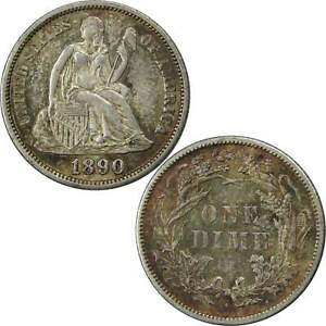 1890 S SEATED LIBERTY DIME BU UNCIRCULATED MINT STATE 90  SILVER 10C COIN TONED