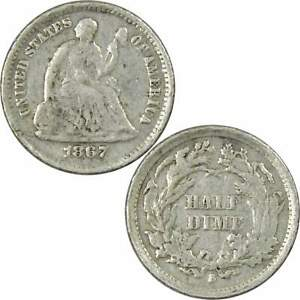 1867 S SEATED LIBERTY HALF DIME XF EF LY FINE 90  SILVER 5C US TYPE COIN