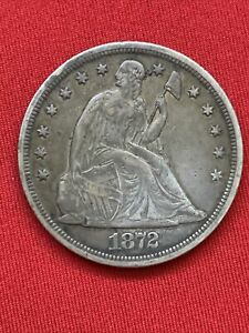 1872 SEATED LIBERTY SILVER DOLLAR $1   VF DETAILS   EARLY COIN