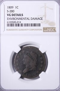 1809 S 280 CLASSIC HEAD LARGE CENT NGC VG   TOUGHER DATE