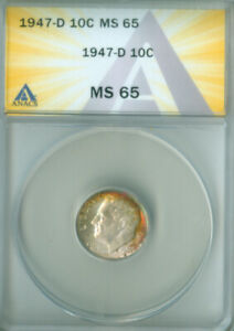 1947 D ROOSEVELT 10C ANACS MS65 TONED FREE S/H  2127382