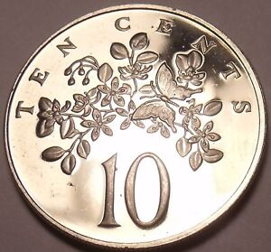 PROOF JAMAICA 1974 10 CENTS LIGNUM VITAE BUTTERFLY 22 000 MINTED FREE SHIP
