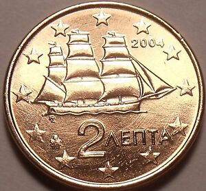 GEM UNC GREECE 2004 2 EURO CENTS CORVETTE SAILING SHIP MINTED IN ATHENS FREE SHI