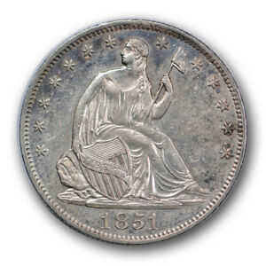 1851 O 50C LIBERTY SEATED HALF DOLLAR ABOUT UNCIRCULATED TO MINT STATE R312