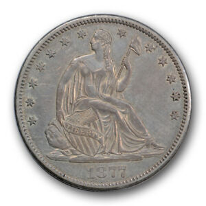 Click now to see the BUY IT NOW Price! 1877 CC 50C LIBERTY SEATED HALF DOLLAR ABOUT UNCIRCULATED TO MINT STATE R345