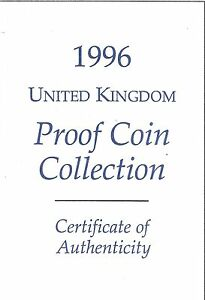 1996 GREAT BRITAIN 9 COIN 2 PAGE C.O.A. DOCUMENT SET