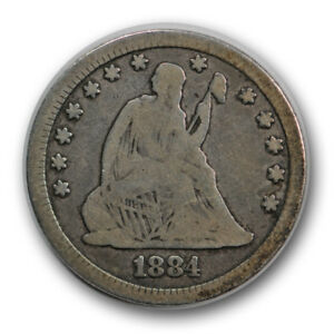 1884 25C LIBERTY SEATED QUARTER GOOD VG LOW MINTAGE R620