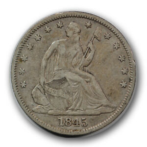 1845 50C LIBERTY SEATED HALF DOLLAR FINE TO EXTRA FINE ORIGINAL R796