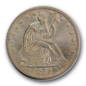 1851 O 50C LIBERTY SEATED HALF DOLLAR ABOUT UNCIRCULATED AU CLEANED R860