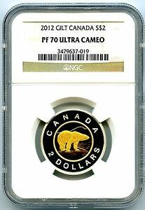 Click now to see the BUY IT NOW Price! 2012 SILVER PROOF TWO DOLLAR CANADA NGC PF70 UCAM .999 FINE GILT GOLD POLAR BEAR