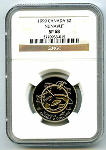 Click now to see the BUY IT NOW Price! 1999 CANADA $2 TOONIE NGC SP68 NUNAVUT LOW POPULATION 4