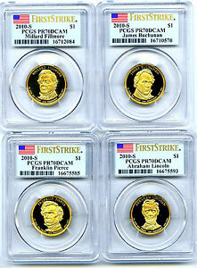Click now to see the BUY IT NOW Price! 2010 S FILLMORE BUCHANAN PIERCE LINCOLN DOLLAR SET PCGS PR70 FIRST STRIKE PROOF