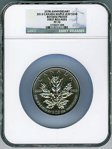 Click now to see the BUY IT NOW Price! 2013 CANADA 5 OUNCE SILVER MAPLE LEAF NGC PF70 REVERSE PROOF 25TH ANNIVERSARY FR
