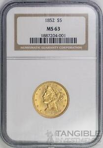 Click now to see the BUY IT NOW Price! 1852 $5 GOLD LIBERTY HEAD   TYPE 1 NO MOTTO   NGC MS63
