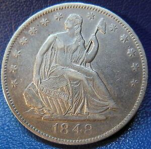 Click now to see the BUY IT NOW Price! 1848 O SEATED LIBERTY HALF DOLLAR EXTRA FINE TO ABOUT UNCIRCULATED US COIN 9642
