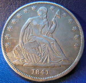 1841 O SEATED LIBERTY HALF DOLLAR ABOUT UNCIRCULATED AU DIE CRACKS CLEANED 9509