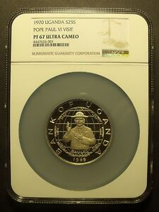 Click now to see the BUY IT NOW Price!  UGANDA 1970 25 SHILLINGS NGC PF 67 UC HIGHEST POPE PAUL VI VISIT OVERSIZE