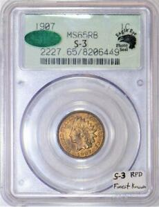 Click now to see the BUY IT NOW Price! 1907 INDIAN HEAD CENT PCGS MS 65 RB WITH PHOTO SEAL; S 3 RPD; FINEST KNOWN