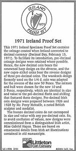 1971 IRELAND 6 COIN SINGLE PAGE C.O.A. AND DOCUMENT SET