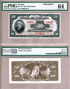 Click now to see the BUY IT NOW Price! BC 17S 1935 $500 BANK OF CANADA SPECIMEN NOTE PMG CH UNC64.  NOTE.