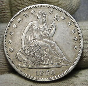 1860 SEATED LIBERTY HALF DOLLAR 50 CENTS KEY DATE 302 000  NICE COIN.  6229