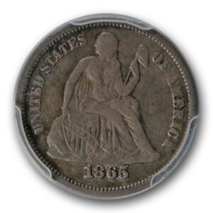 1865 10C LIBERTY SEATED DIME PCGS VF FINE DETAILS TOOLED