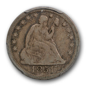1851 O 25C LIBERTY SEATED QUARTER PCGS F 12 NEW ORLEANS