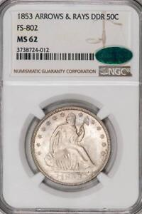 Click now to see the BUY IT NOW Price! 1853 ARROWS & RAYS DDR NGC MS62 CAC SEATED HALF DOLLAR POP OF 1 ITEMM1292