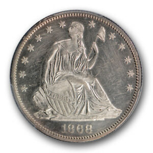 1868 PROOF  LIBERTY SEATED HALF DOLLAR PCGS UNCIRCULATED DETAILS CLEANED