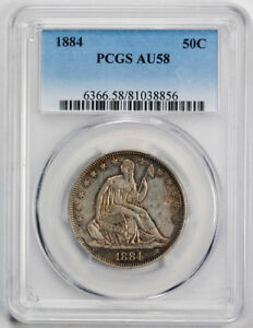1884 50C LIBERTY SEATED HALF DOLLAR PCGS AU 58 ABOUT UNCIRCULATED REGISTRY SET G