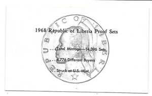 1968 LIBERIA 6 COIN C.O.A. DOCUMENT NO COINS