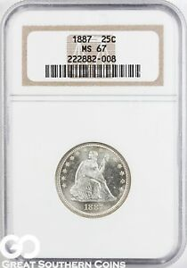 Click now to see the BUY IT NOW Price! 1877 NGC SEATED LIBERTY QUARTER NGC MS 67    SUPER PQ BLAZER FREE S/H