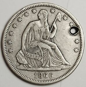 1866 S SEATED LIBERTY HALF.  NO MOTTO.  X.F. DETAIL.  HOLED.  111780