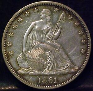 1861 LIBERTY SEATED HALF DOLLAR IDLL370