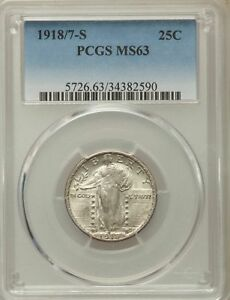 Click now to see the BUY IT NOW Price! 1918/7 S US SILVER 25C STANDING LIBERTY QUARTER   PCGS MS63
