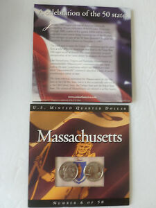 MASSACHUSETTS STATE QUARTER 2000 SET P & D  COINS OF AMERICA UNCIRCULATED