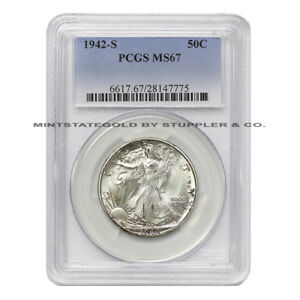 Click now to see the BUY IT NOW Price! 1942 S 50C WALKING LIBERTY PCGS MS67 GRADED SAN FRANCISO SILVER HALF DOLLAR GEM