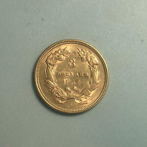 1854 GOLD $3 THREE DOLLAR PRINCESS HEAD COIN   BU