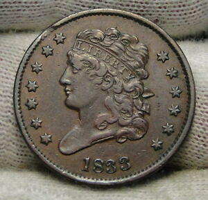1833 CLASSIC HEAD HALF CENT   NICE COIN    ONLY 103 000 MINTED  6502