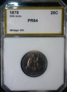 1878 GEM PROOF SEATED QUARTER US COIN SHARP  LOW MINTAGE OF JUST 800