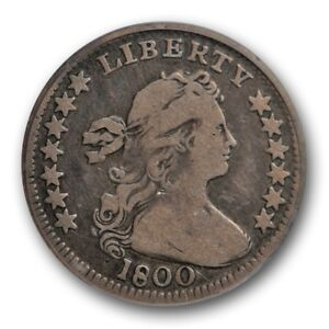 1800 H10C LIBEKTY LM 3 DRAPED BUST HALF DIME PCGS F 15 CAC APPROVED