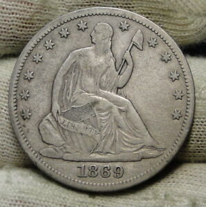 1869S SEATED LIBERTY HALF DOLLAR 50 CENTS. KEY DATE 656 000 MINTED  6606