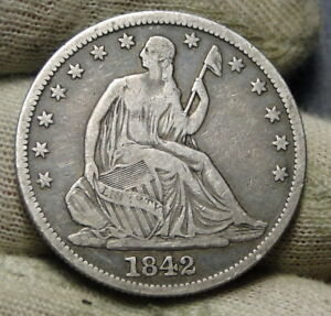 1842 SEATED LIBERTY HALF DOLLAR 50 CENTS. NICE COIN   6479