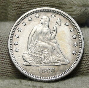 1860 O SEATED LIBERTY QUARTER 25 CENTS   KEY DATE 388 000 MINTED NICE  6173